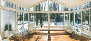 Sunroom additions white framework inside home